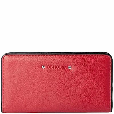 OBHOLIC 紅色牛皮長夾女夾皮夾錢包