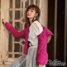 Victoria 花苞下襬中長版絲棉外套-女-紫紅