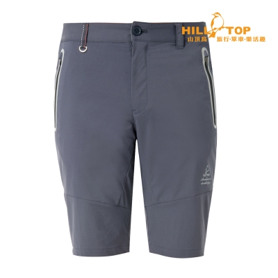 【hilltop山頂鳥】男款超潑水抗UV彈性短褲S09M63深灰