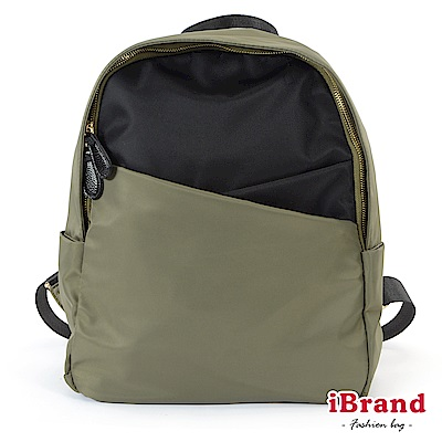 iBrand 簡約雙層交叉尼龍拉鍊後背包-綠