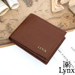 Lynx - 經典80復古風真皮系列9卡1照上下翻短夾-復古咖