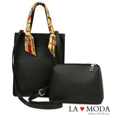 La Moda 獨特優雅Look~緞帶把手柔軟經典子母包托特包(黑)