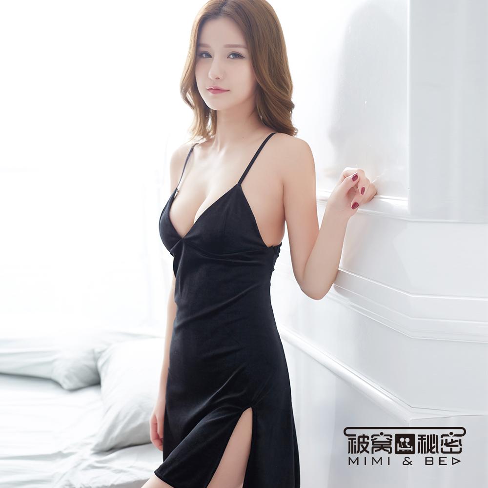 性感睡衣 絲絨性感V領優雅開叉短裙。黑色 被窩的秘密
