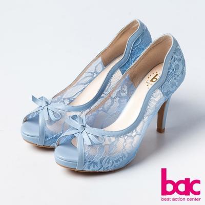 bac蕾絲舞鞋優雅蕾絲蝴蝶結魚口高跟鞋淺藍