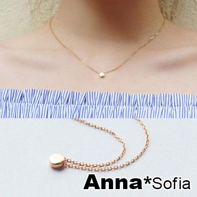 AnnaSofia 迷你小圓豆 925純銀鎖骨鍊項鍊(玫瑰金系)