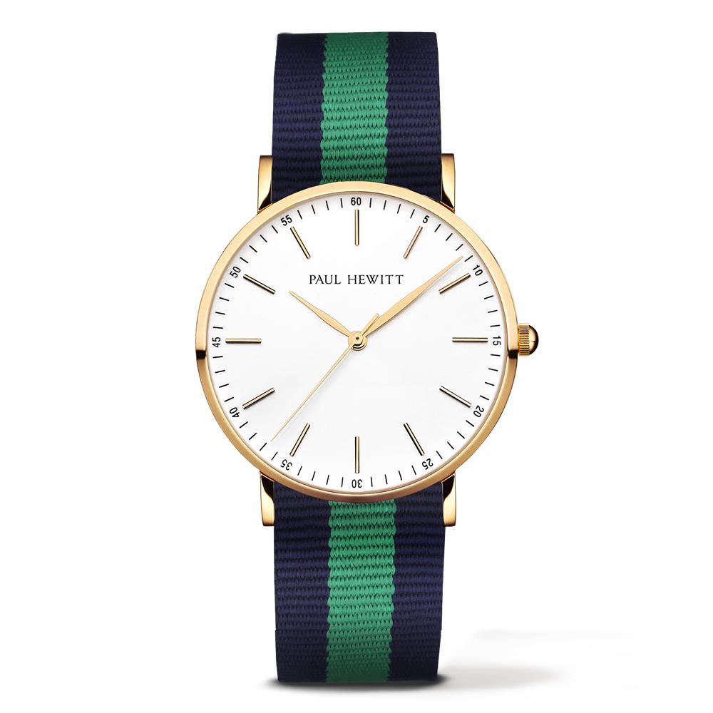 福利品-PAUL HEWITT Gold Line 藍綠尼龍錶帶 金色錶框/38mm