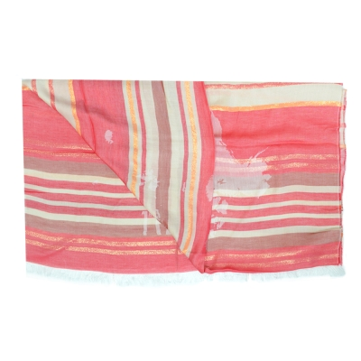 Alviero Martini 義大利地圖 條紋地圖絲巾-紅(80X180)