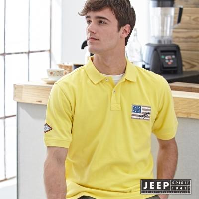 JEEP 夏日洗舊風美國旗刺繡短袖POLO衫 (黃色)