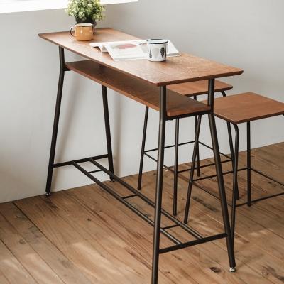 完美主義 吧檯桌/吧台桌/餐桌/木紋雙層-119.5x40x87cm