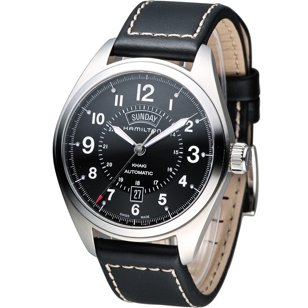Hamilton Khaki 漢米爾頓卡其陸戰雙曆機械腕錶-黑/42mm