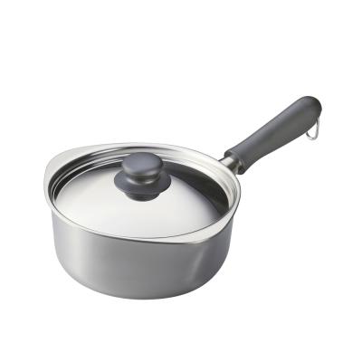 柳宗理-不鏽鋼單手鍋-亮面-直徑18cm-附不鏽鋼蓋