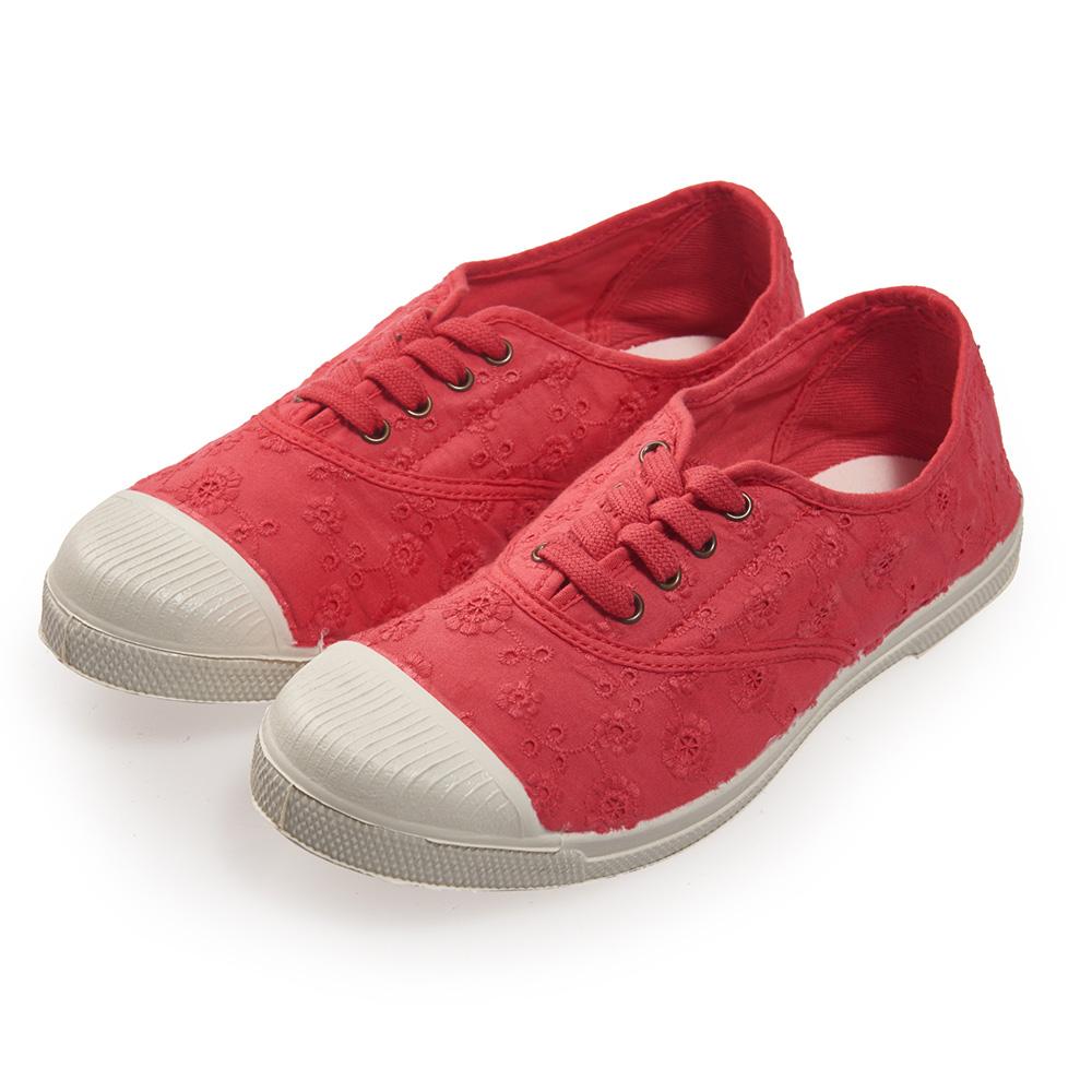 (女)Natural World 西班牙休閒鞋 印花4孔基本款*橘紅色