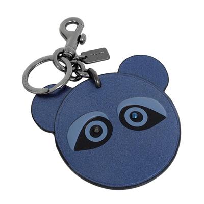 COACH Teddy Bear星空藍全皮雙扣環鑰匙圈COACH