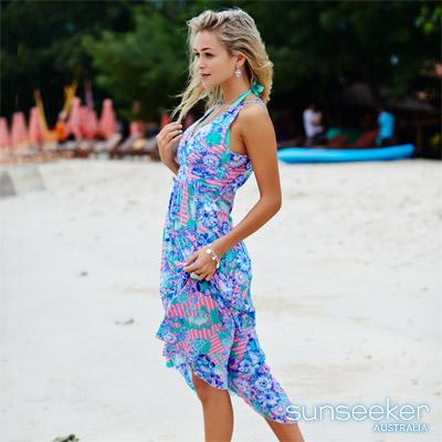澳洲Sunseeker泳裝女神系熱帶花朵網紗長洋裝