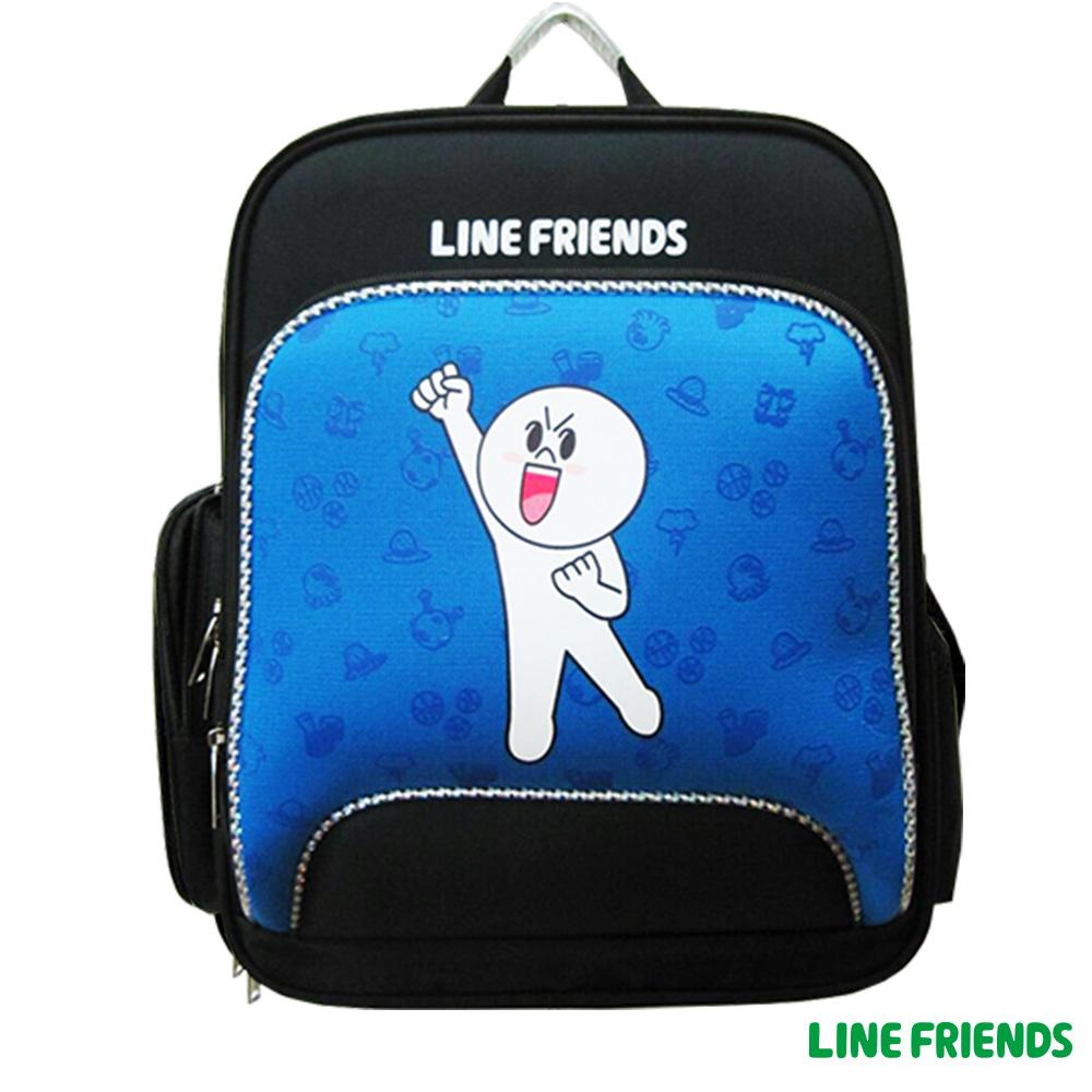 【LINE FRIENDS】EVA護脊後背書包(藍_饅頭人)