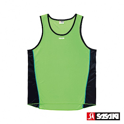 SASAKI 吸濕排汗專業田徑背心-男-艷綠/黑/亮藍