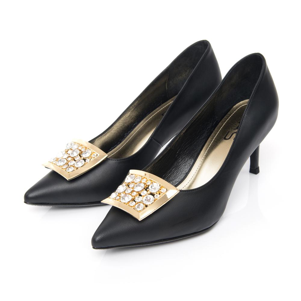 TAS 水鑽金屬飾釦羊皮高跟鞋-注目黑