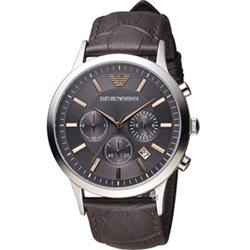 EMPORIO ARMANI 紳士品味時尚腕錶 -咖啡x黑/43mm