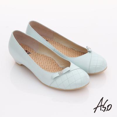 A.S.O 舒活寬楦 全真皮壓紋貼鑽低跟鞋 淺藍色