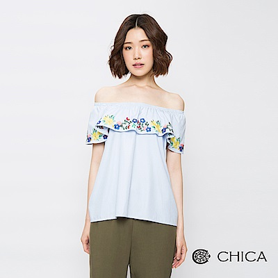 CHICA 仲夏假期花藝刺繡一字領條紋上衣(2色)