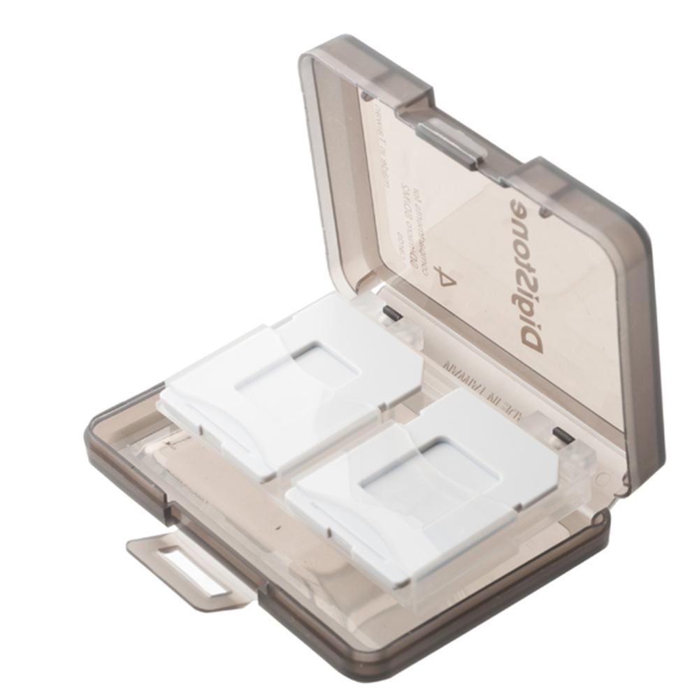 DigiStone 4片裝記憶卡多功能收納盒/冰凍透黑色(1個)