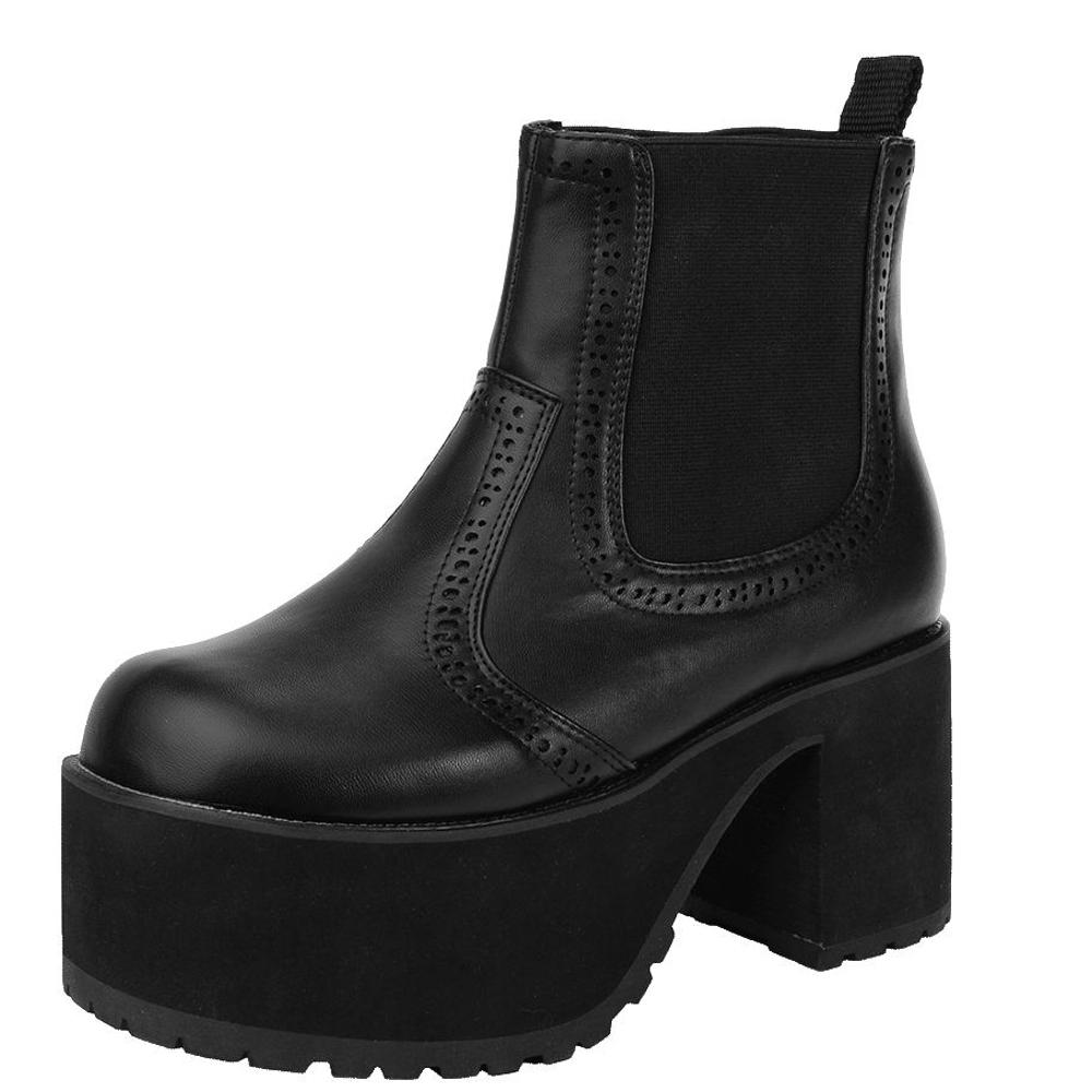 TUK帥氣厚底粗跟短靴-黑