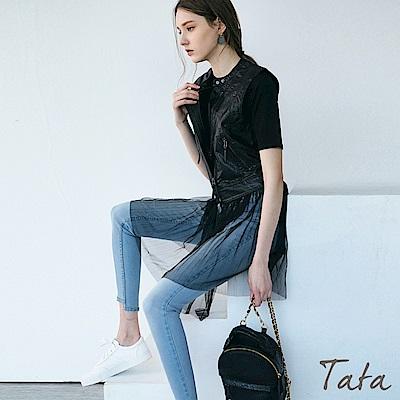 皮背心下擺拼接紗裙 TATA