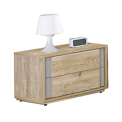 品家居 蘭夏1.8尺木紋雙色二抽床頭櫃-54x40x40cm免組