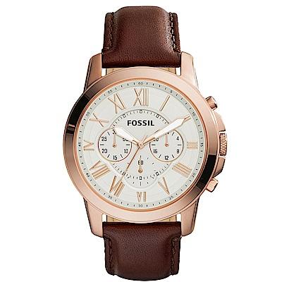 FOSSIL Grant 旗艦三眼計時復刻腕錶-銀x玫塊金框x咖啡/44mm