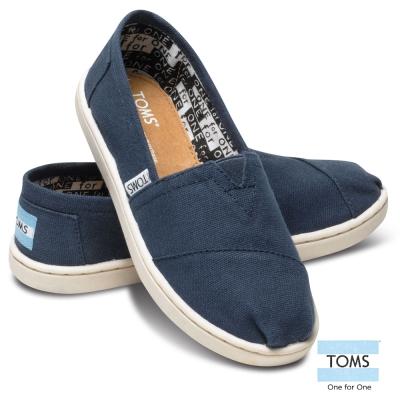 TOMS-經典帆布懶人鞋-孩童款-藍