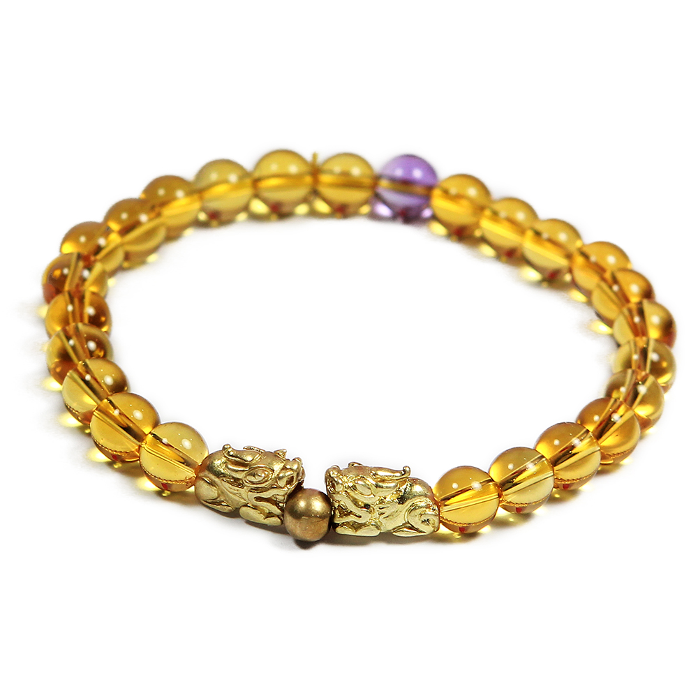 A1寶石 雙貔貅-黃水晶紫水晶手鍊-強力招財旺貴人運(含開光加持)