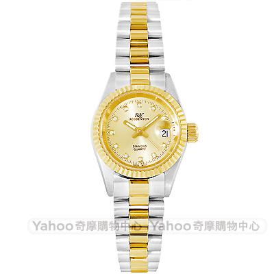 ROSDENTON 勞斯丹頓經典真鑽半金時尚手錶-銀/25mm