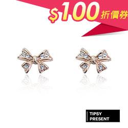 鍍18K 水鑽 蝴蝶結 耳環