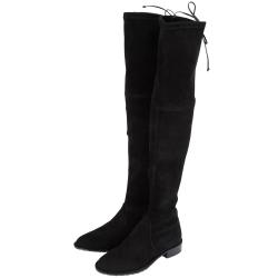 Stuart Weitzman LOWLAND 抽繩麂皮過膝長靴(黑色)