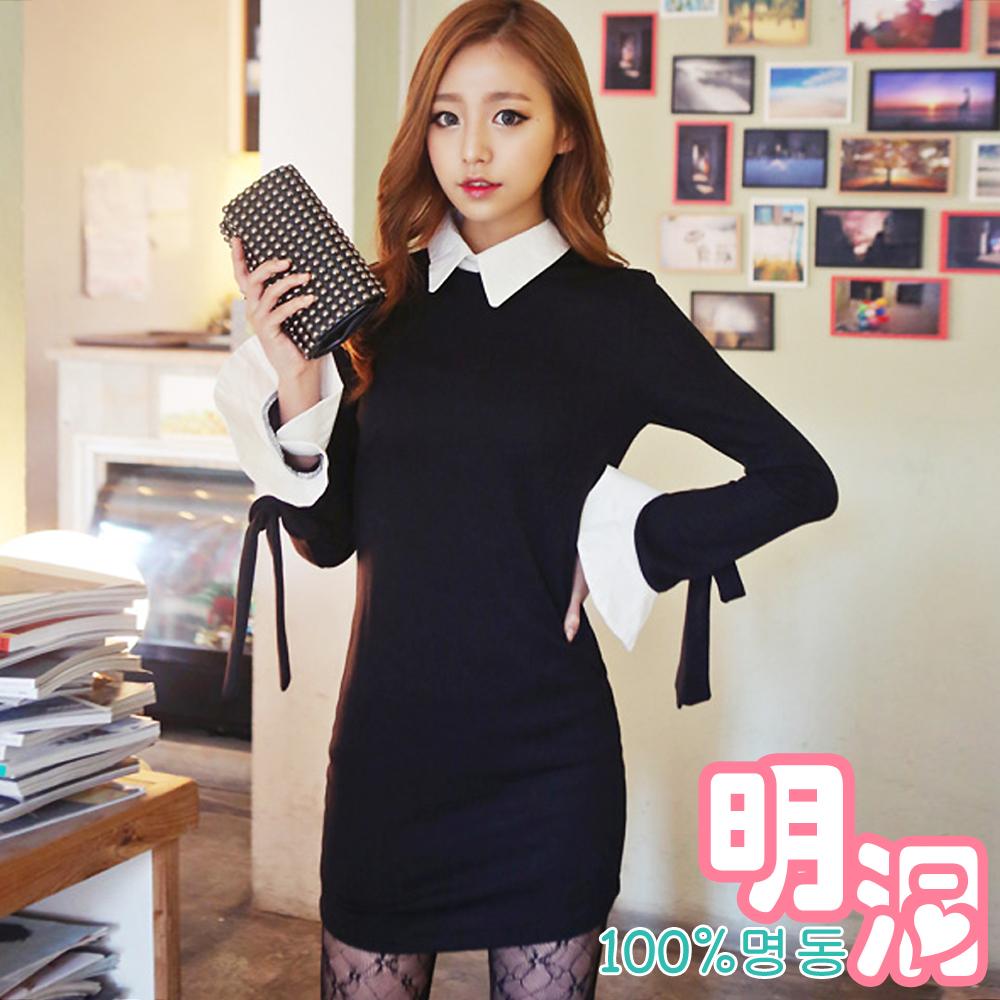 學院風荷葉寬袖繫帶連身裙 (黑色)-100%明洞