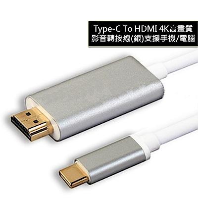TYPE C TO HDMI 4K高畫質影音轉接線(銀) 支援手機/電腦