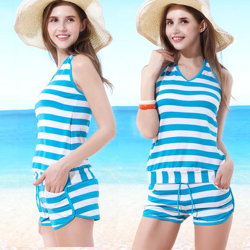 二件式泳裝 繞頸綁帶短褲款 (海洋風粗藍條紋M-L) TiNyHouSe
