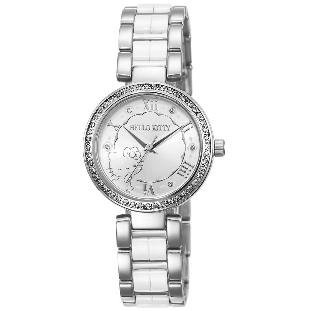HELLO KITTY 凱蒂貓俏麗公主陶瓷手錶-白/30mm