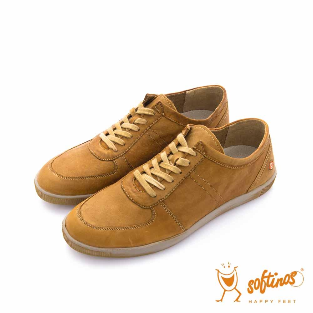 SOFTINOS-HAPPY FEET 牛皮綁帶線條休閒鞋 - 棕