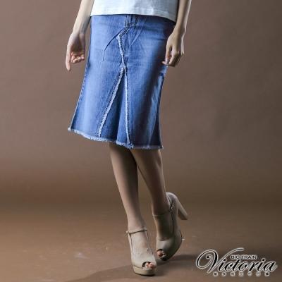 【BIG TRAIN】女裝 牛仔割破七分裙
