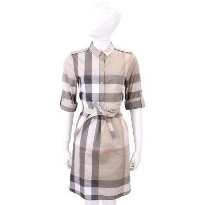BURBERRY 淡石色格紋棉質襯衫式洋裝(附腰帶)