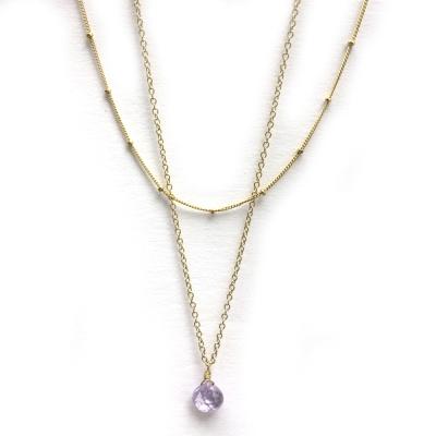 Shari Wacks 好萊塢品牌 透明紫水晶 細鍊 金豆珠鍊 雙層金項鍊
