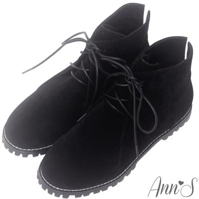 Ann'S率性風格-後V綁帶圓頭平底短靴-黑
