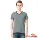 BRAPPERS 男款 V領條紋短袖上衣-淺藍