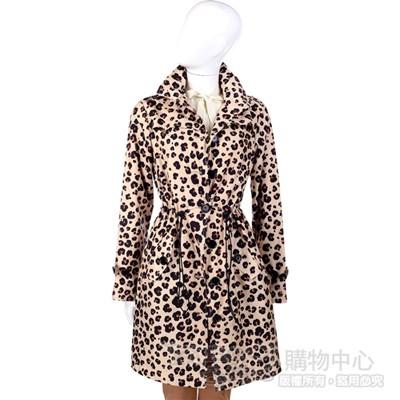 MOSCHINO 膚色豹紋排釦風衣外套