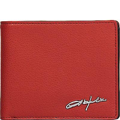 OBHOLIC 紅色配黑色牛皮短夾皮夾錢包