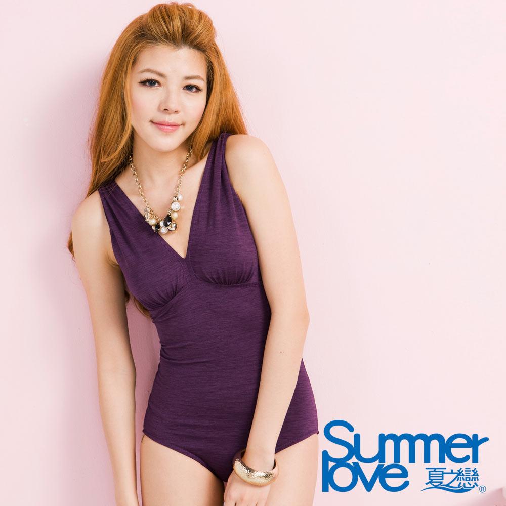 大尺碼 SUMMERLOVE夏之戀 紫色連身三角泳衣