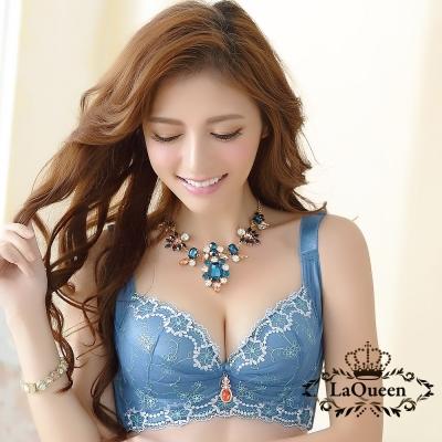 內衣  細緻繡花蠶絲內襯無鋼圈成套內衣-藍 La Queen