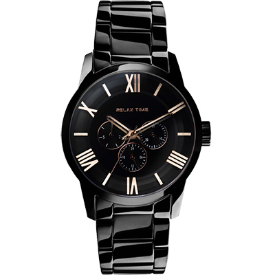 RELAX TIME RT65 羅馬情人日曆腕錶-玫瑰金時標x黑/45mm