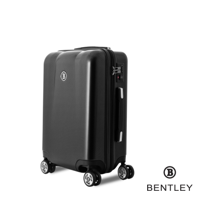 BENTLEY賓利 20吋 PC+ABS 碳纖維拉鍊款輕量行李箱 -黑